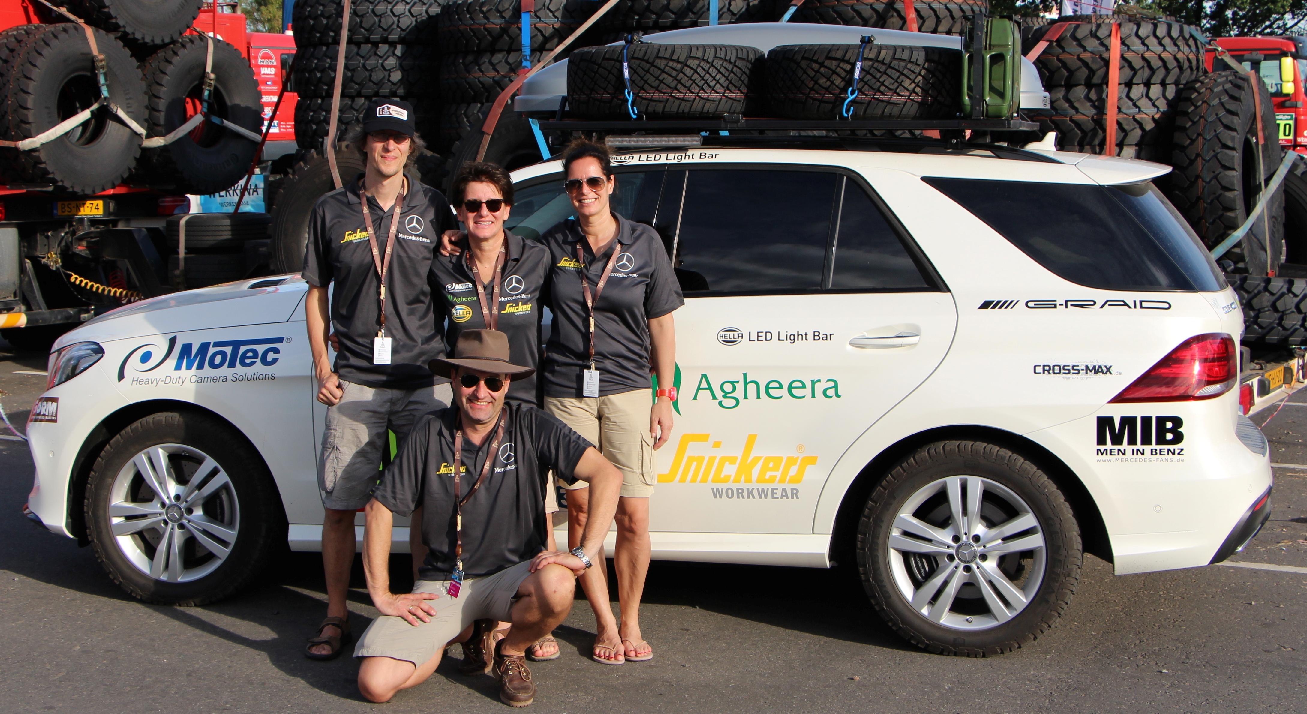 Ellen Lohr (back row, middle) and the Mercedes public relations crew at the Rallye Dakar 2016 [Photo: Ellen Lohr]
