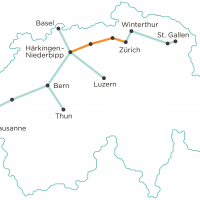 The planned underground freight network, pilot scheme coloured in orange [Drawing: Cargo Sous Terrain]