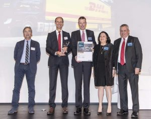 Award ceremony in Hamburg: Patrick Fanget (Airbus Group), Klaus Richter (Airbus Group), Thomas George (DHL), Marja-Liisa Turtiainen (DHL) and Frank Lebeuf (DHL) (left to right) [Photo: Airbus]