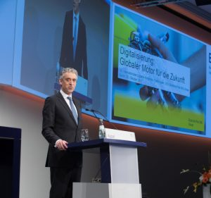 The CEO of Deutsche Post DHL Group, Dr. Frank Appel, during his Keynote at the opening of the 34th International Supply Chain Conference. [Photo: BVL/Kai Bublitz]