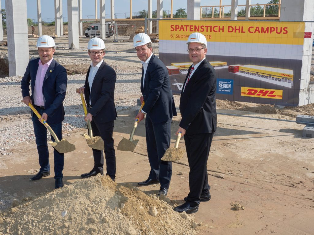 The symbolic ground-breaking ceremony was performed on September, 6 by Dr. Günther Ofner, Member of the Board of Flughafen Wien AG, Thomas Ram, Mayor of Fischamend Municipality and Christoph Wahl, Managing Director Austria at DHL Global Forwarding and Horst Sorg, Managing Director Austria at DHL Freight.[Photo: DHL/Pepo Schuster]