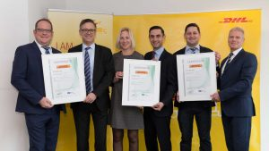 Handover of the certificates: DHL Freight Global COO Thomas Vogel, Dekra Managing Director Dr. Rolf Krökel, DHL Freight Global Head of Quality Management Annika Scharbert and Sabahudin Dzino, Key Account Manager Dekra, Daniel Schümmer, Head Certification Management DHL Freight Global, Dekra Head of Sales Frank Barenscheer (LTR). [Photo: DHL]
