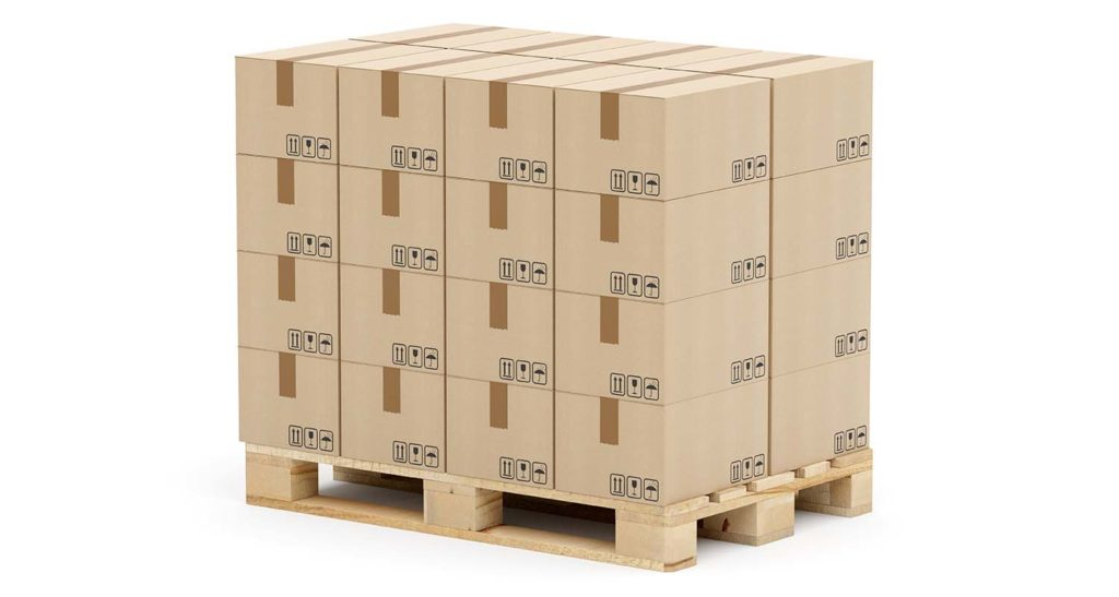 This is what a well-packed pallet looks like: No overhang, gaps are filled with empty cardboard. Even at the top the shape is clean: This is not a place for individual packages.